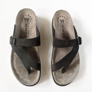 EUC MEPHISTO Helen Black Nubuck Sandal Size 37